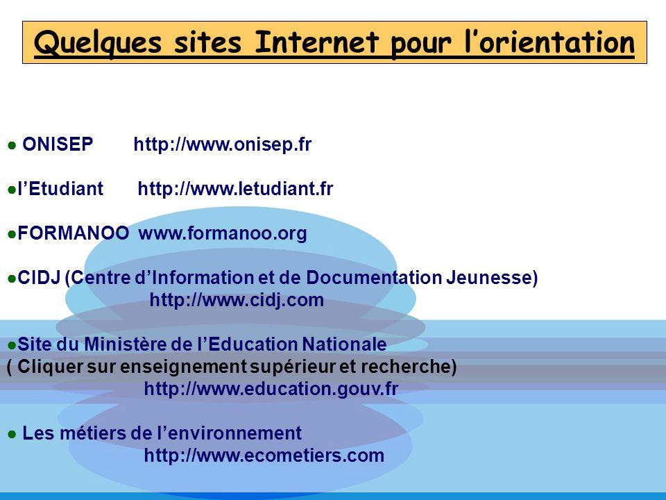 Quelques sites Internet pour lorientation ONISEP http://www.onisep.fr lEtudiant http://www.letudiant.fr FORMANOO www.formanoo.org CIDJ (Centre dInform