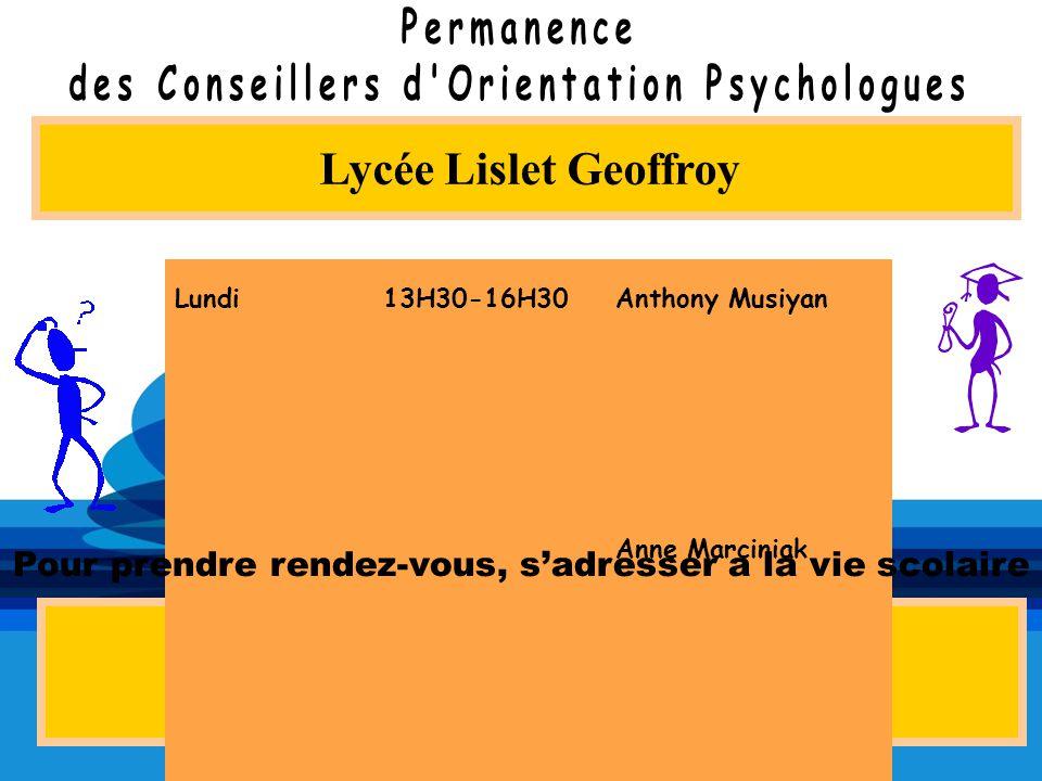 Lycée Lislet Geoffroy Au CIO de Saint-Denis 5 rue du Maréchal Leclerc 02 62 21 18 81 MardiMardi 13H30-16H3013H30-16H30 Anne Marciniak JeudiJeudi 8H30-