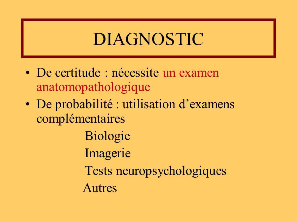 DIAGNOSTIC De certitude : nécessite un examen anatomopathologique De probabilité : utilisation dexamens complémentaires Biologie Imagerie Tests neurop