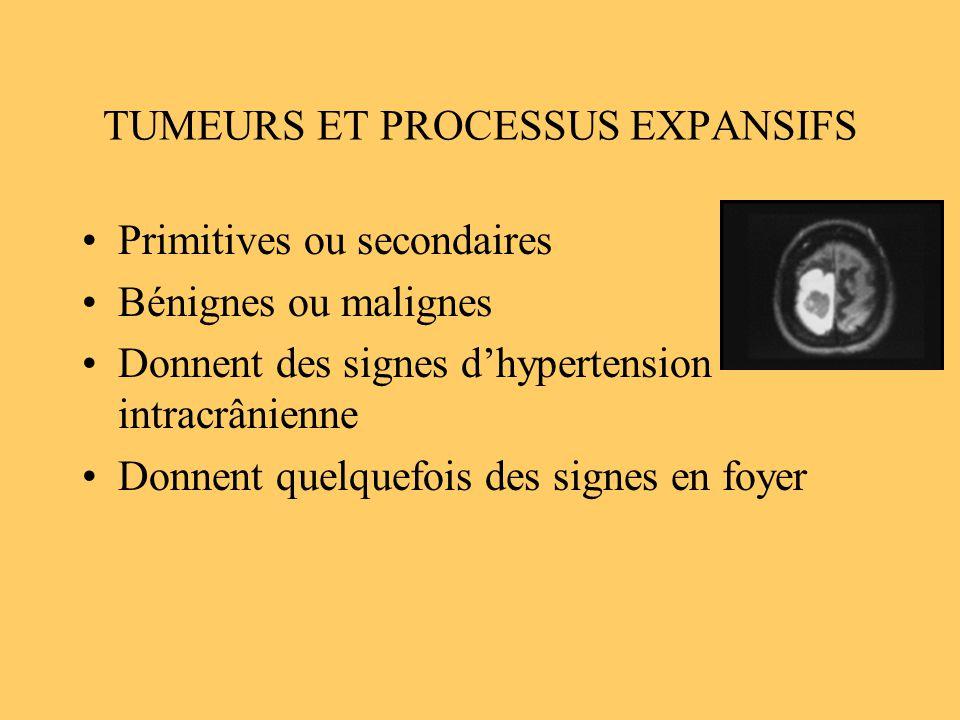 TUMEURS ET PROCESSUS EXPANSIFS Primitives ou secondaires Bénignes ou malignes Donnent des signes dhypertension intracrânienne Donnent quelquefois des