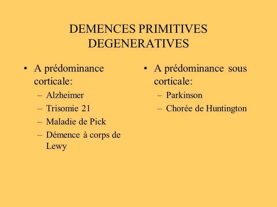 DEMENCES PRIMITIVES DEGENERATIVES A prédominance corticale: –Alzheimer –Trisomie 21 –Maladie de Pick –Démence à corps de Lewy A prédominance sous cort