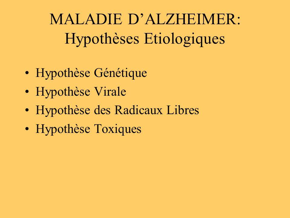 MALADIE DALZHEIMER: Hypothèses Etiologiques Hypothèse Génétique Hypothèse Virale Hypothèse des Radicaux Libres Hypothèse Toxiques