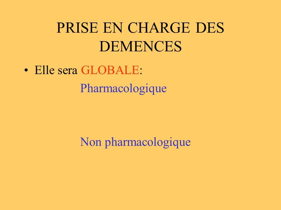 PRISE EN CHARGE DES DEMENCES Elle sera GLOBALE: Pharmacologique Non pharmacologique