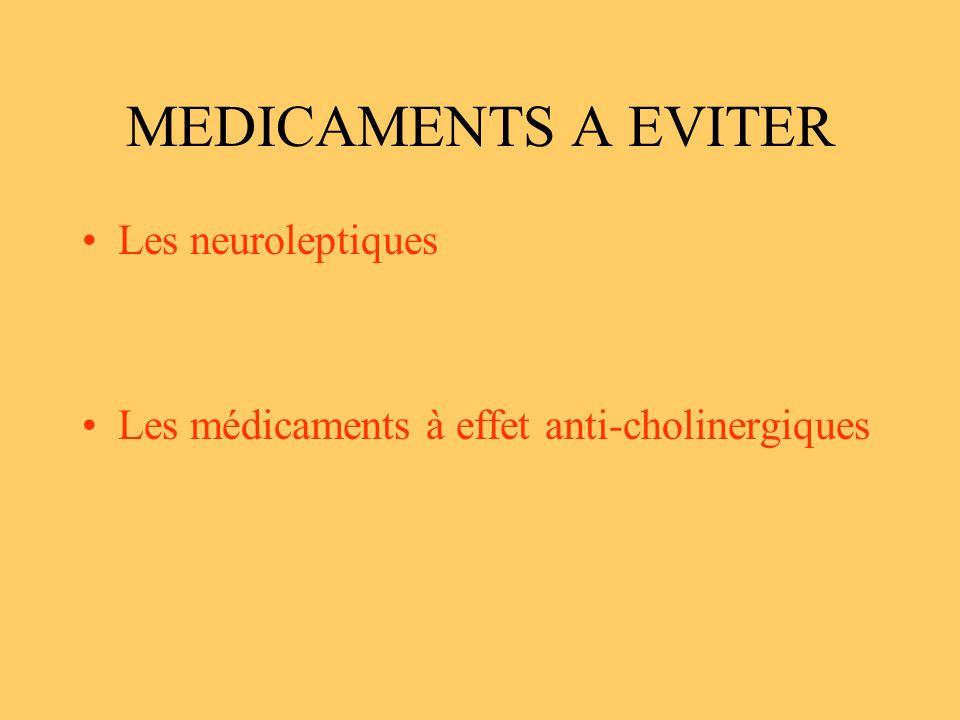 MEDICAMENTS A EVITER Les neuroleptiques Les médicaments à effet anti-cholinergiques