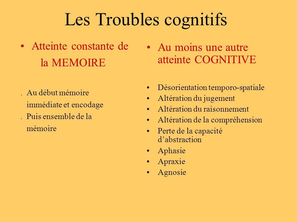 Les Troubles cognitifs Atteinte constante de la MEMOIRE. Au début mémoire immédiate et encodage. Puis ensemble de la mémoire Au moins une autre attein