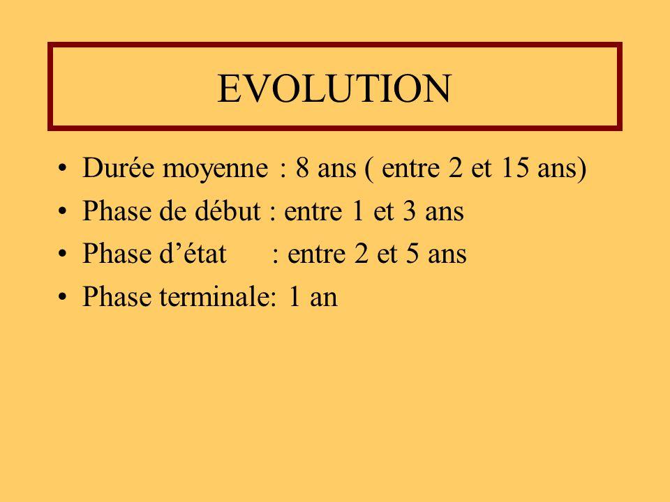 EVOLUTION Durée moyenne : 8 ans ( entre 2 et 15 ans) Phase de début : entre 1 et 3 ans Phase détat : entre 2 et 5 ans Phase terminale: 1 an