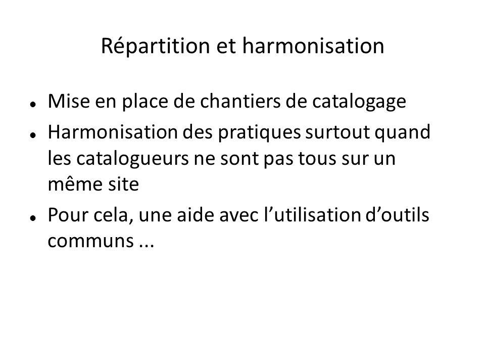 Répartition et harmonisation Mise en place de chantiers de catalogage Harmonisation des pratiques surtout quand les catalogueurs ne sont pas tous sur