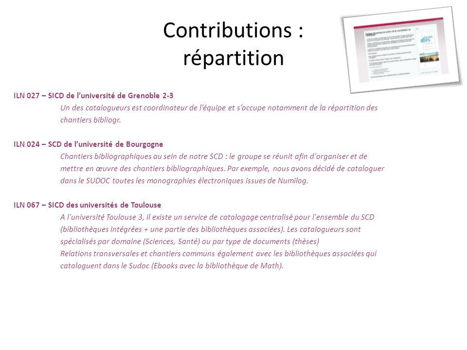 Contributions : répartition ILN 027 – SICD de luniversité de Grenoble 2-3 Un des catalogueurs est coordinateur de léquipe et soccupe notamment de la r