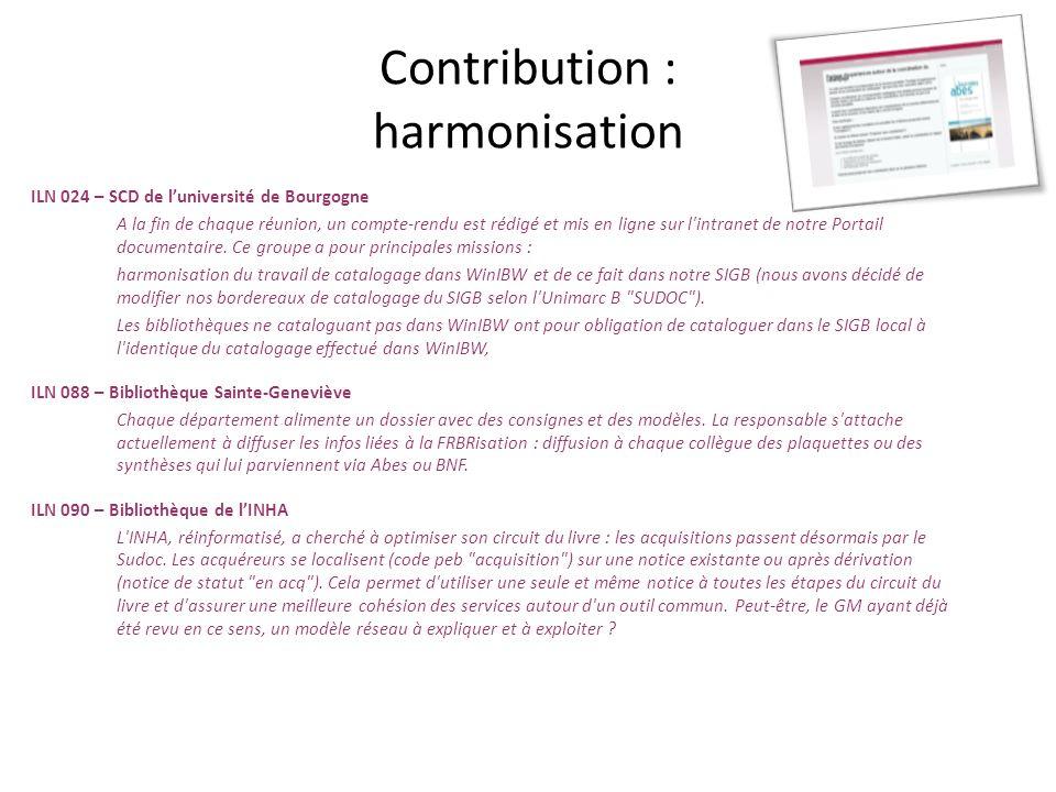 Contribution : harmonisation ILN 024 – SCD de luniversité de Bourgogne A la fin de chaque réunion, un compte-rendu est rédigé et mis en ligne sur l'in