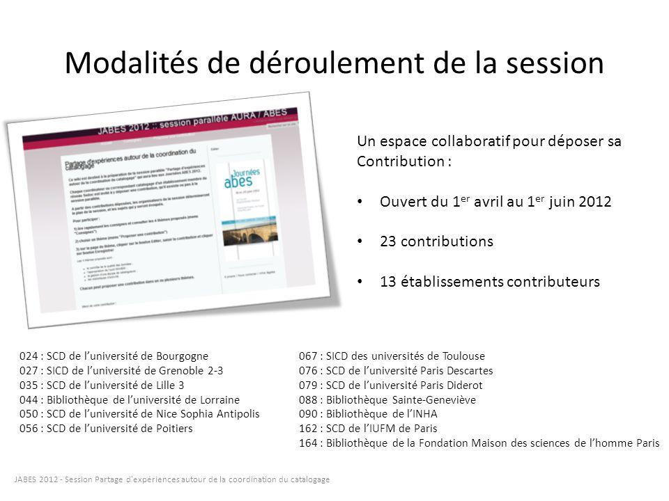 Modalités de déroulement de la session JABES 2012 - Session Partage d'expériences autour de la coordination du catalogage Un espace collaboratif pour