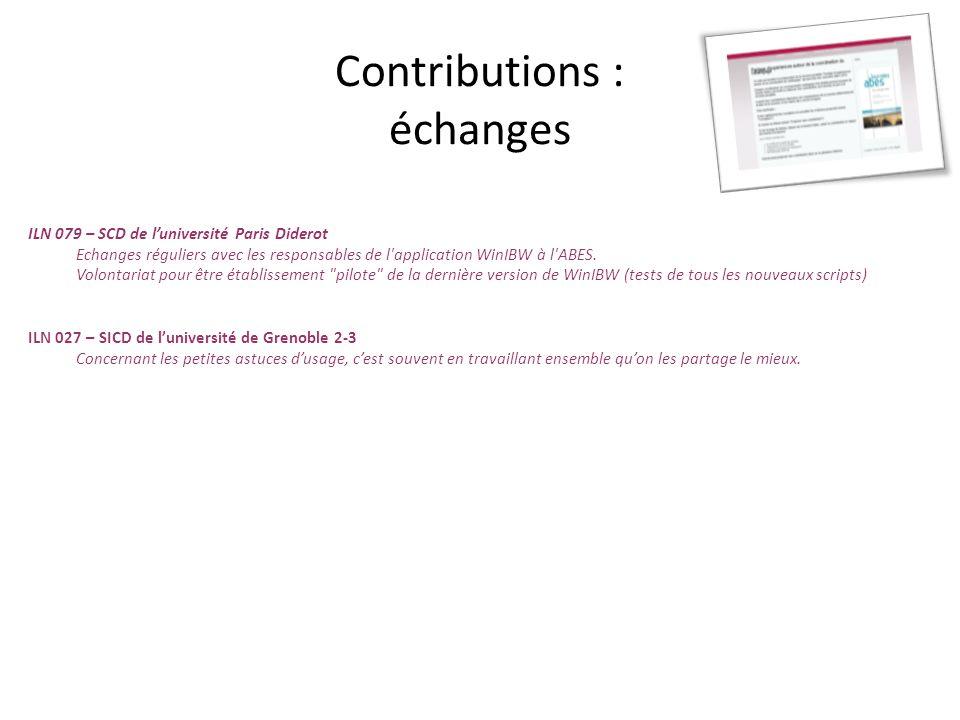 Contributions : échanges ILN 079 – SCD de luniversité Paris Diderot Echanges réguliers avec les responsables de l'application WinIBW à l'ABES. Volonta
