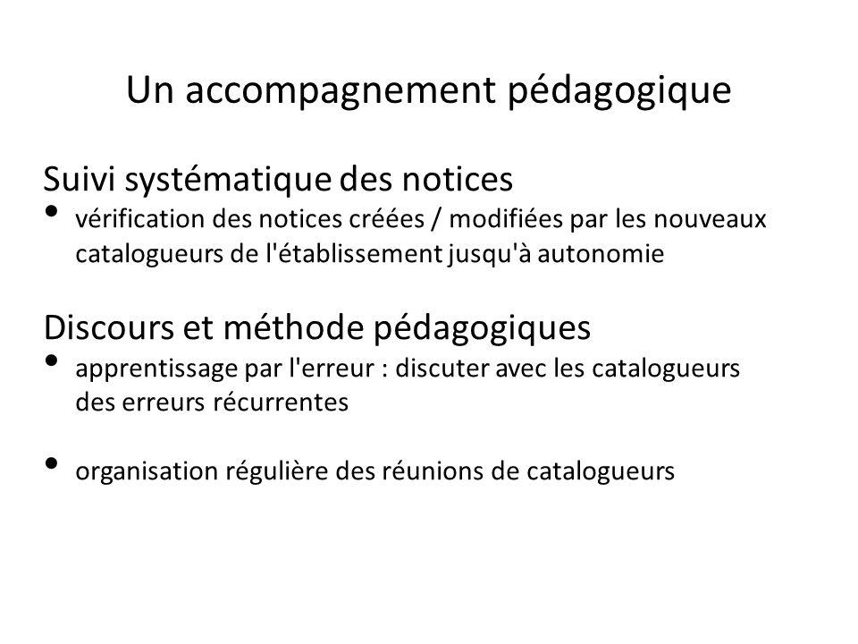 Un accompagnement pédagogique Suivi systématique des notices vérification des notices créées / modifiées par les nouveaux catalogueurs de l'établissem