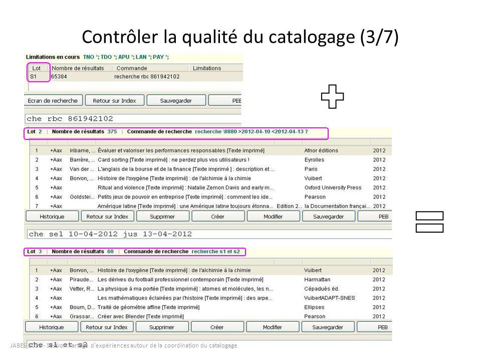 Contrôler la qualité du catalogage (3/7) JABES 2012 - Session Partage d'expériences autour de la coordination du catalogage