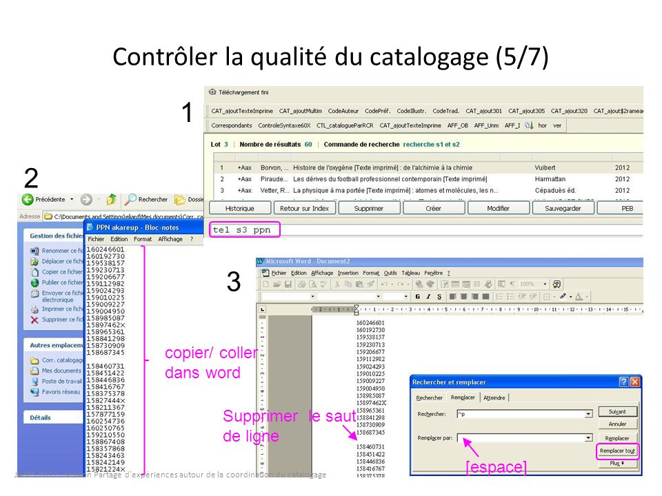 Contrôler la qualité du catalogage (5/7) 1 2 3 copier/ coller dans word Supprimer le saut de ligne [espace] JABES 2012 - Session Partage d'expériences