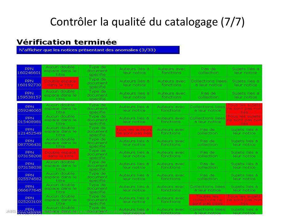 Contrôler la qualité du catalogage (7/7) JABES 2012 - Session Partage d'expériences autour de la coordination du catalogage