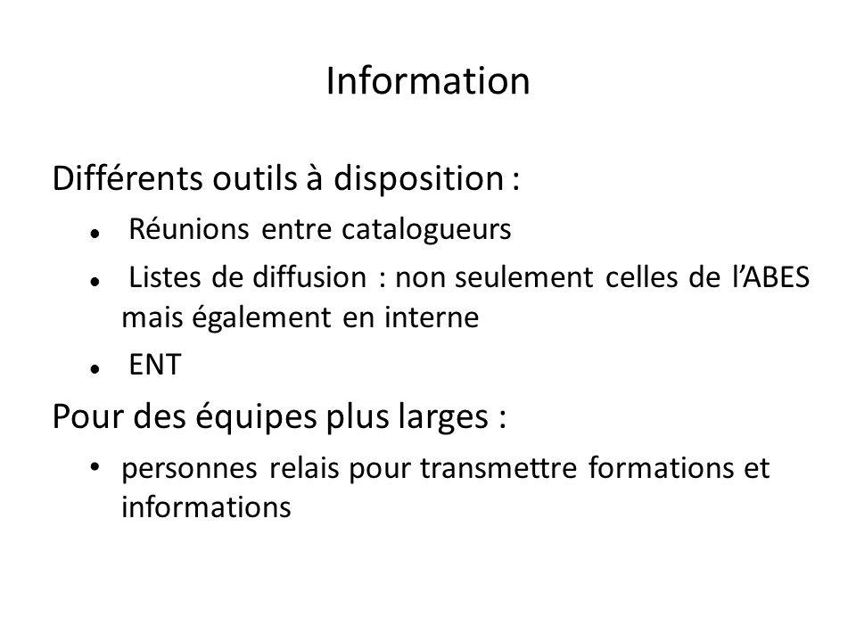 Information Différents outils à disposition : Réunions entre catalogueurs Listes de diffusion : non seulement celles de lABES mais également en intern