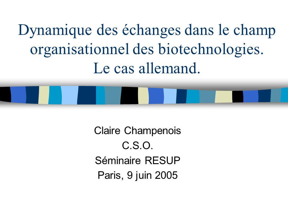 Dynamique des échanges dans le champ organisationnel des biotechnologies.