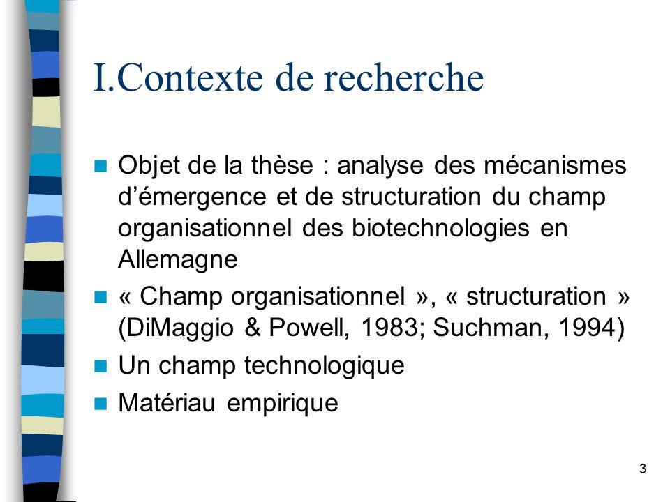 3 I.Contexte de recherche Objet de la thèse : analyse des mécanismes démergence et de structuration du champ organisationnel des biotechnologies en Allemagne « Champ organisationnel », « structuration » (DiMaggio & Powell, 1983; Suchman, 1994) Un champ technologique Matériau empirique