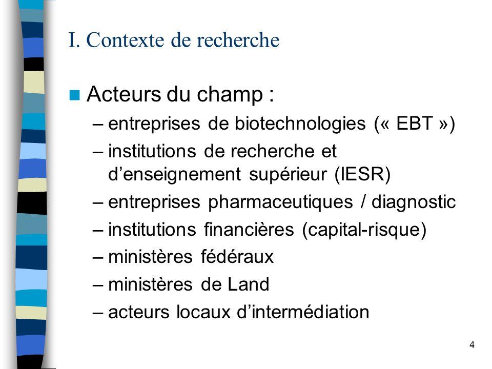 4 I. Contexte de recherche Acteurs du champ : –entreprises de biotechnologies (« EBT ») –institutions de recherche et denseignement supérieur (IESR) –