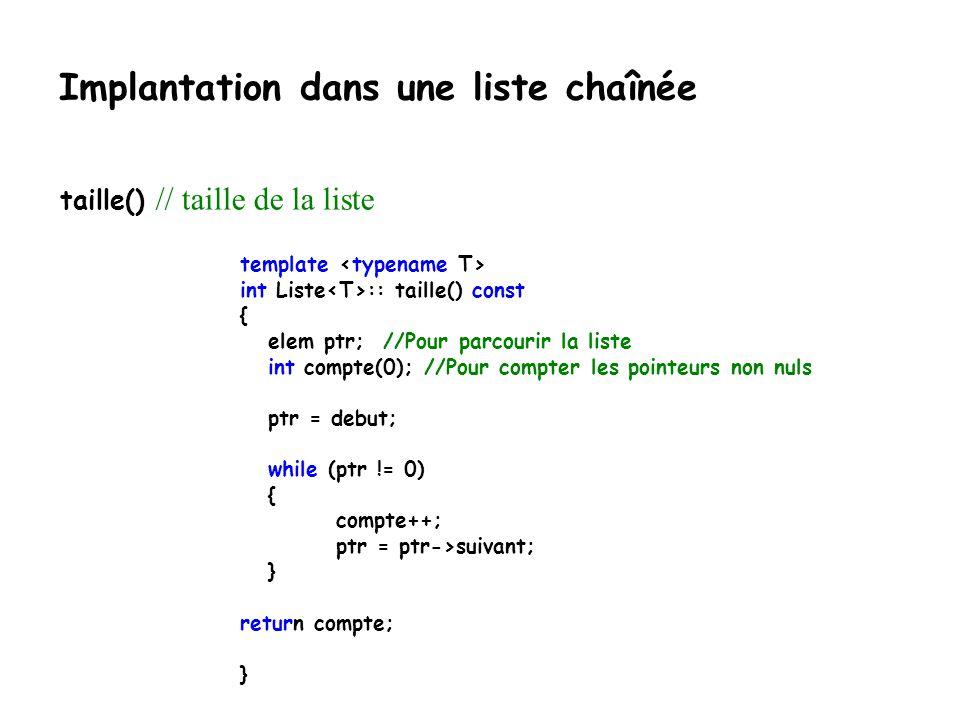 Implantation dans une liste chaînée template Liste :: ~Liste() {elem courant = debut; while(courant!=0) { debut=debut->suivant; delete courant; couran