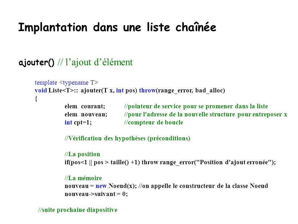 Implantation dans une liste chaînée template bool Liste :: appartient(T& x) const { elem courant = debut; while (courant!=0) { if (courant->el == x) return true; courant = courant->suivant; } return false; } appartient() // recherche