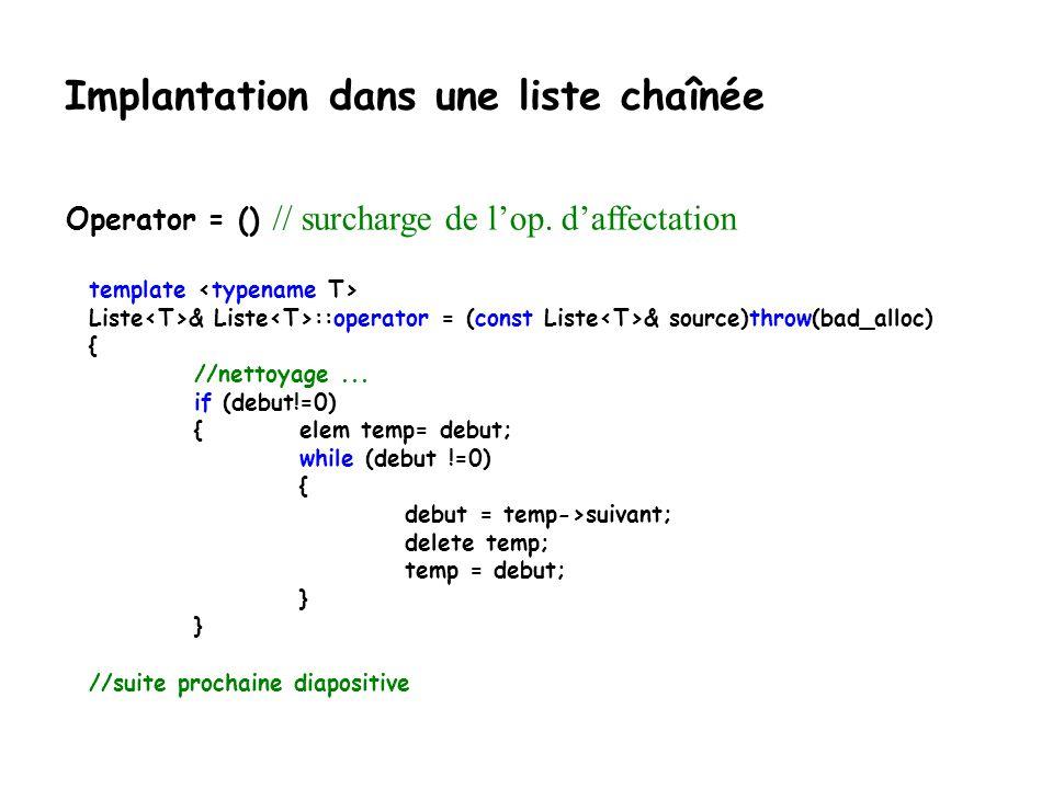 Implantation dans une liste chaînée else { if (debut == trouve) { / x est au début de la liste debut = debut->suivant; } else { //..il est ailleur pred->suivant = trouve->suivant; } // on coupe la structure supprimée de la liste trouve->suivant = 0; //libération de la mémoire associée à la structure supprimée delete trouve; } enleverEl() // enlever la première occurrence dun élément