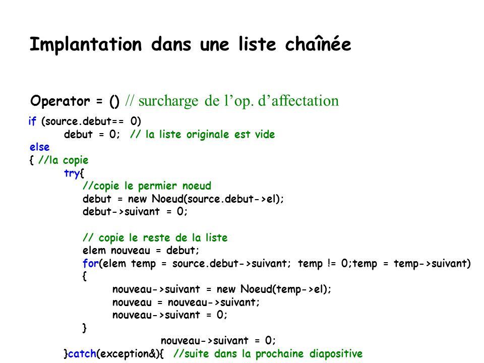 Implantation dans une liste chaînée template Liste & Liste ::operator = (const Liste & source)throw(bad_alloc) { //nettoyage... if (debut!=0) {elem te