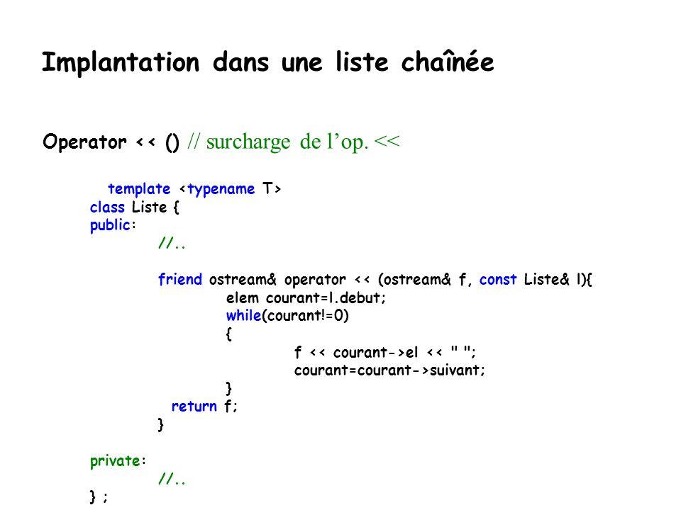 Implantation dans une liste chaînée catch(exception&){ //suite dans la prochaine diapositive //Si on arrive ici c'est qu'il y a une erreur d'allocatio