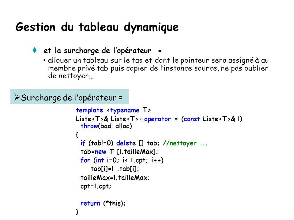 Gestion du tableau dynamique Il ne faut pas oublier le constructeur de copie: allouer un tableau sur le tas et dont le pointeur sera assigné à au membre privé tab puis copier de linstance source template Liste :: Liste(const Liste & source) throw (bad_alloc) : tailleMax(source.tailleMax) { cpt= source.cpt; tab = new T [tailleMax]; for (int position =0; position < source.cpt; ++position) tab[position]= source.tab[position]; } Constructeur de copie