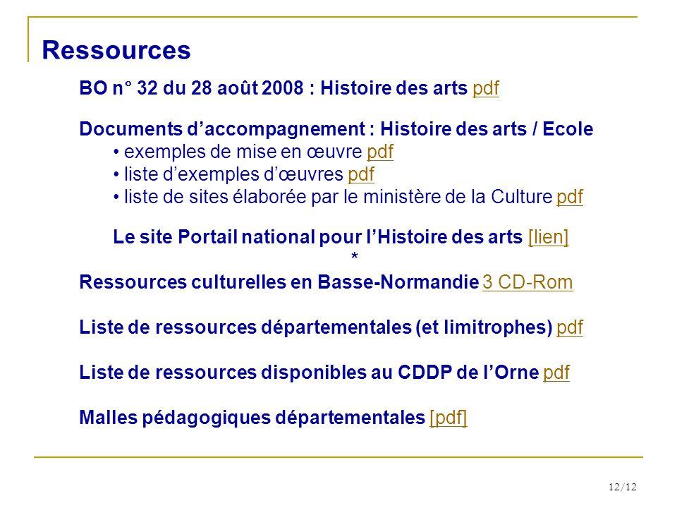 12/12 BO n° 32 du 28 août 2008 : Histoire des arts pdfpdf Documents daccompagnement : Histoire des arts / Ecole exemples de mise en œuvre pdfpdf liste