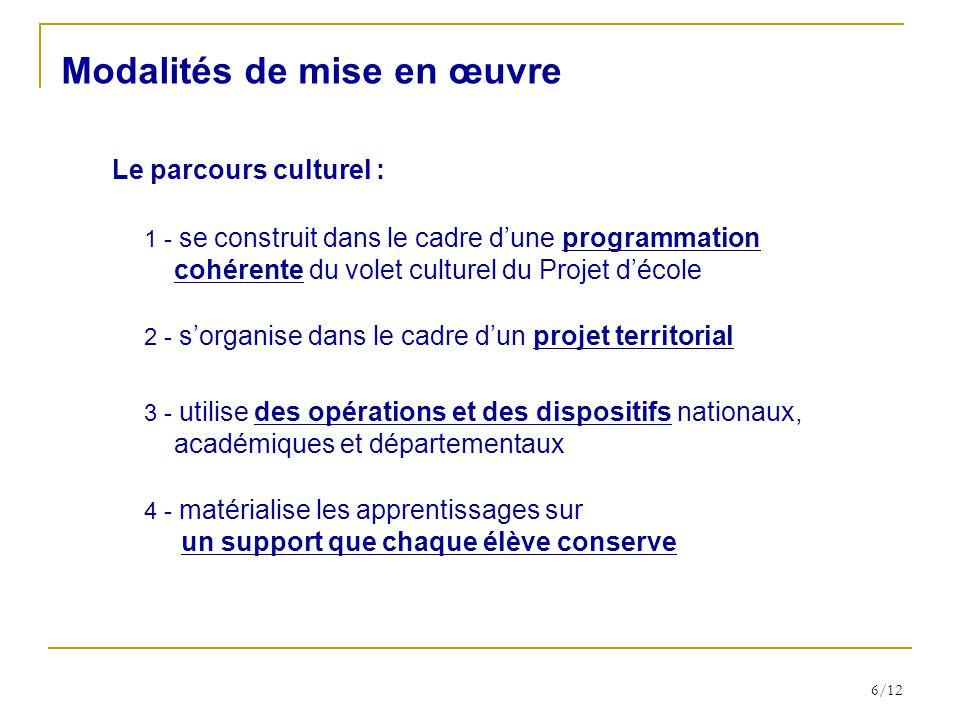6/12 3 - utilise des opérations et des dispositifs nationaux, académiques et départementaux Le parcours culturel : Modalités de mise en œuvre 1 - se c