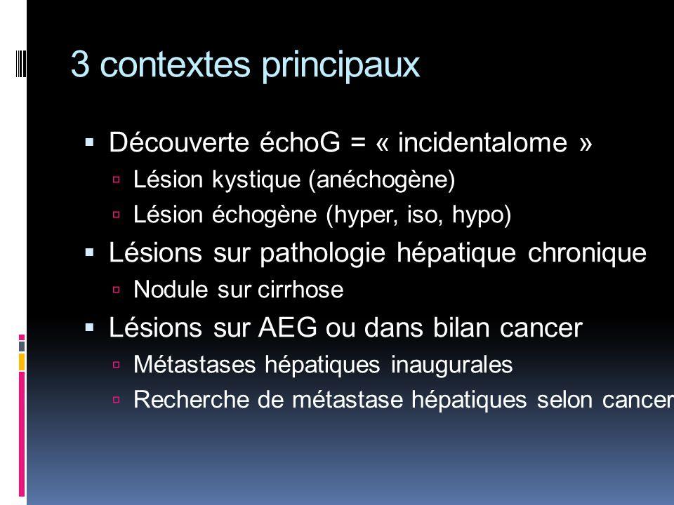 3 contextes principaux Découverte échoG = « incidentalome » Lésion kystique (anéchogène) Lésion échogène (hyper, iso, hypo) Lésions sur pathologie hép