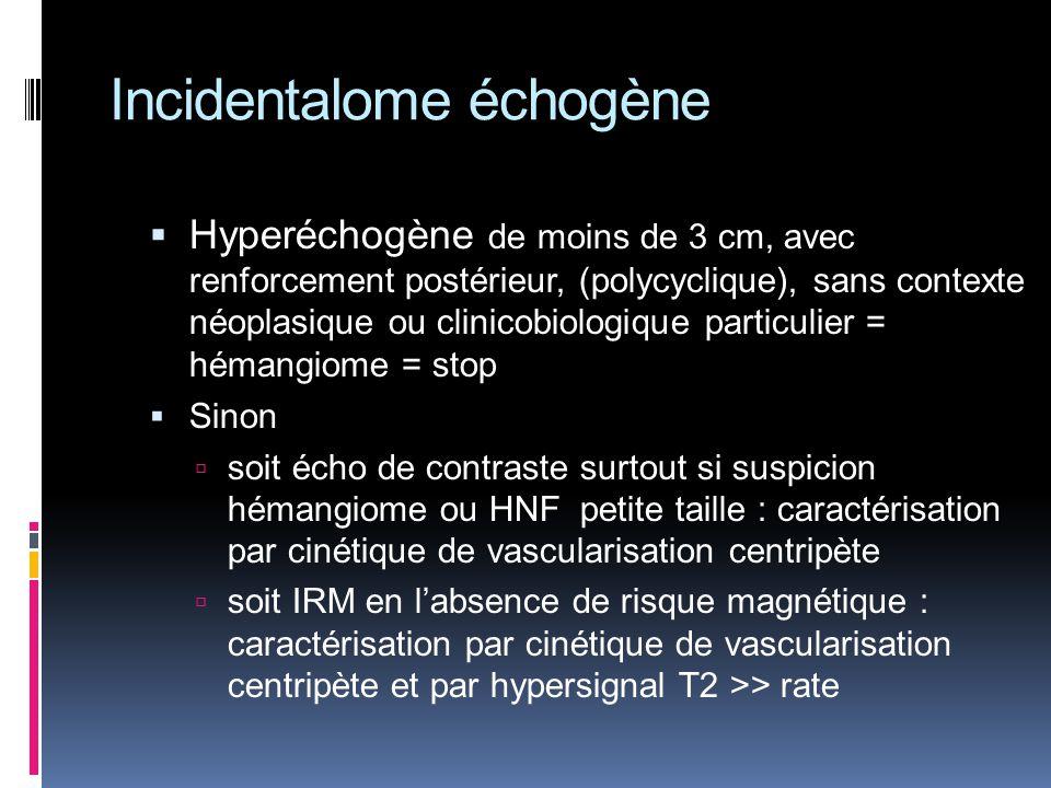 Hyperéchogène de moins de 3 cm, avec renforcement postérieur, (polycyclique), sans contexte néoplasique ou clinicobiologique particulier = hémangiome