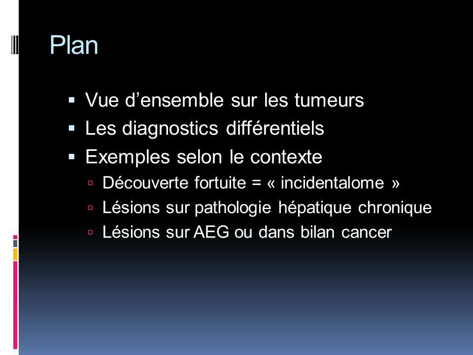 Plan Vue densemble sur les tumeurs Les diagnostics différentiels Exemples selon le contexte Découverte fortuite = « incidentalome » Lésions sur pathol