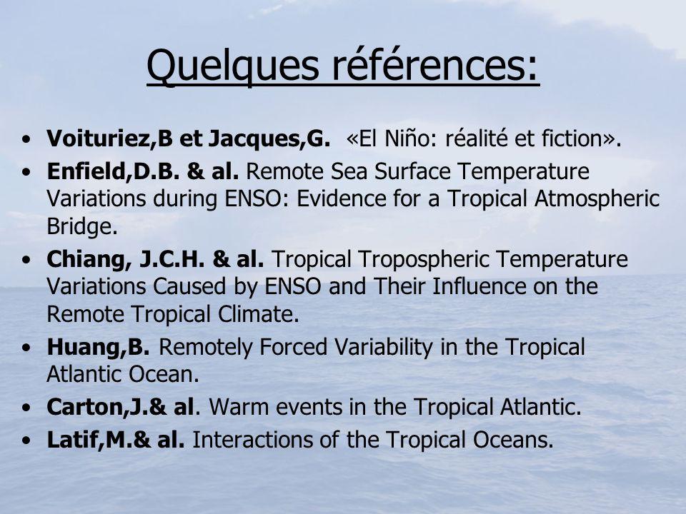 Quelques références: Voituriez,B et Jacques,G. «El Niño: réalité et fiction». Enfield,D.B. & al. Remote Sea Surface Temperature Variations during ENSO