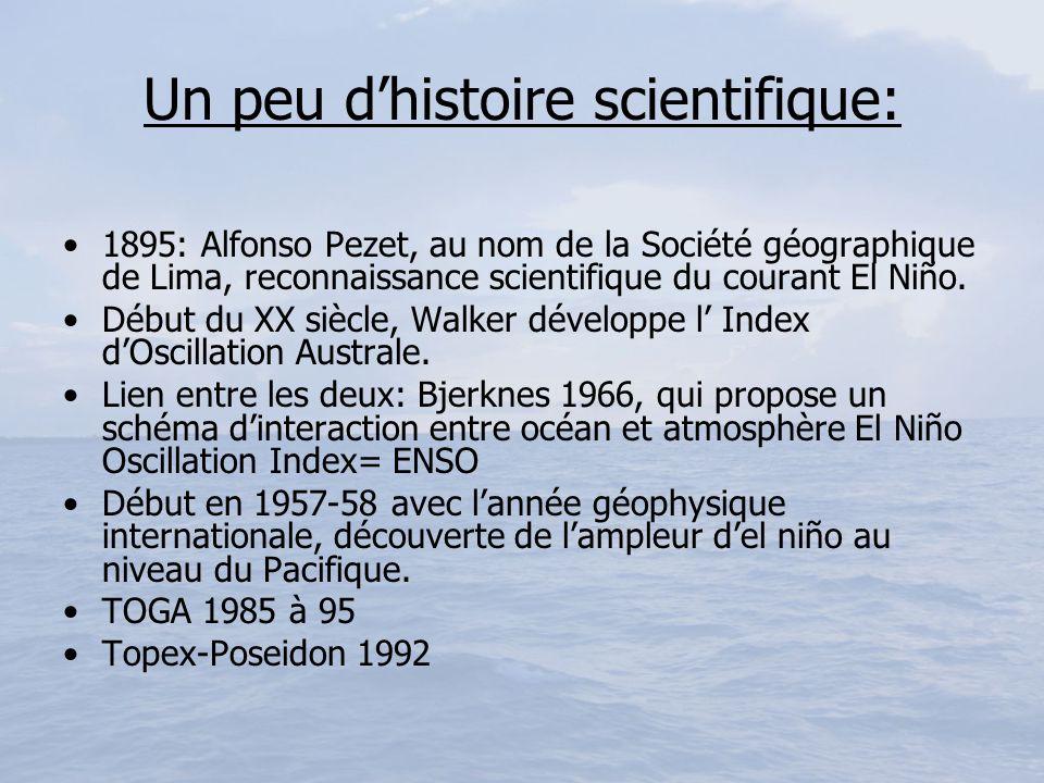 Un peu dhistoire scientifique: 1895: Alfonso Pezet, au nom de la Société géographique de Lima, reconnaissance scientifique du courant El Niño. Début d