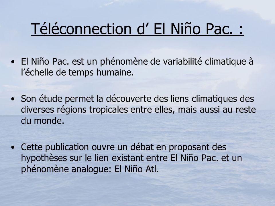 Téléconnection d El Niño Pac. : El Niño Pac. est un phénomène de variabilité climatique à léchelle de temps humaine. Son étude permet la découverte de