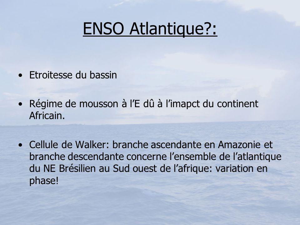 ENSO Atlantique?: Etroitesse du bassin Régime de mousson à lE dû à limapct du continent Africain. Cellule de Walker: branche ascendante en Amazonie et