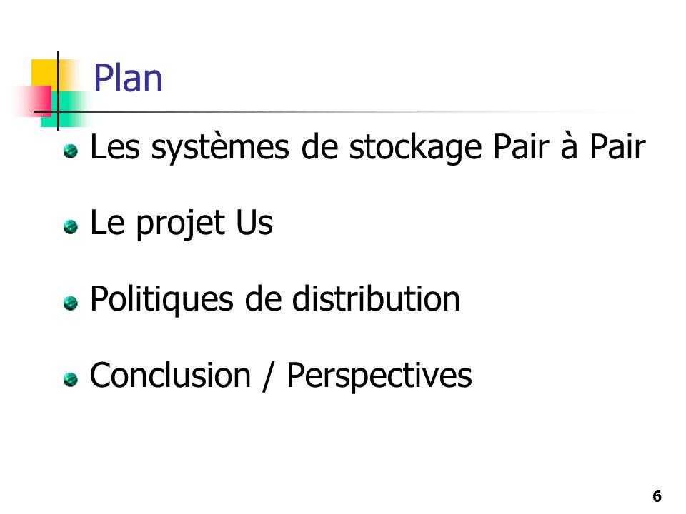 6 Plan Les systèmes de stockage Pair à Pair Le projet Us Politiques de distribution Conclusion / Perspectives