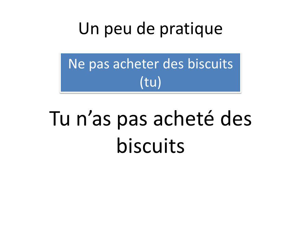 Un peu de pratique Ne pas acheter des biscuits (tu) Tu nas pas acheté des biscuits
