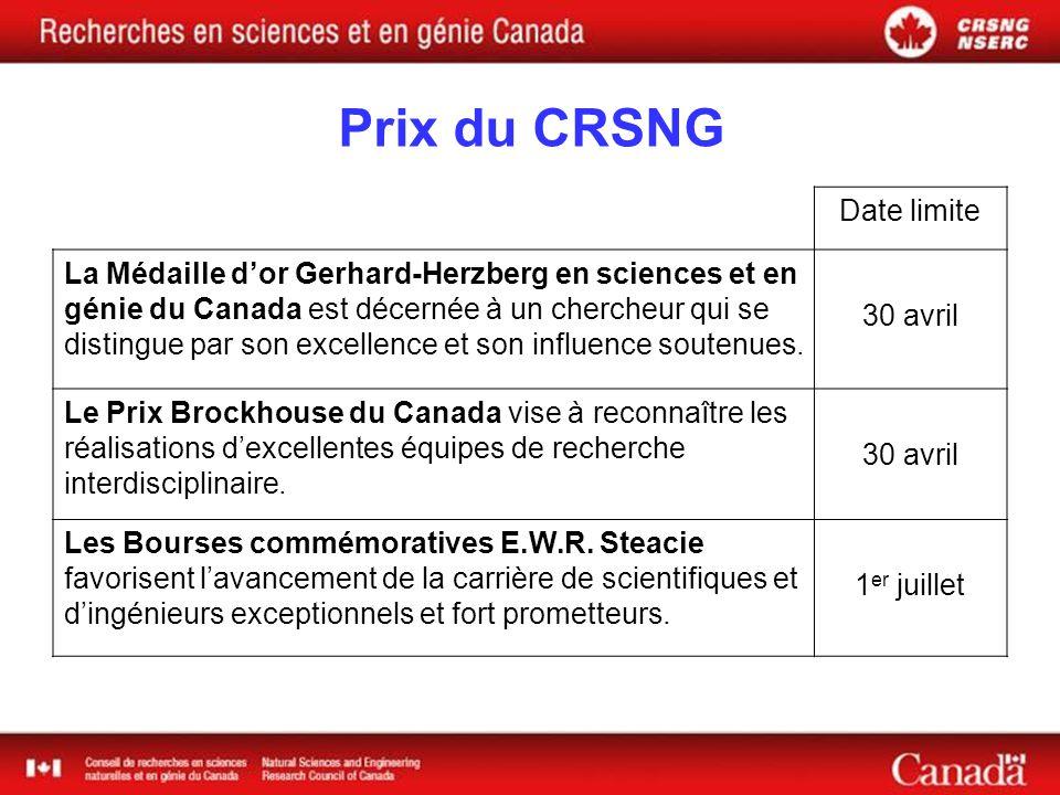 Prix du CRSNG Date limite La Médaille dor Gerhard-Herzberg en sciences et en génie du Canada est décernée à un chercheur qui se distingue par son excellence et son influence soutenues.