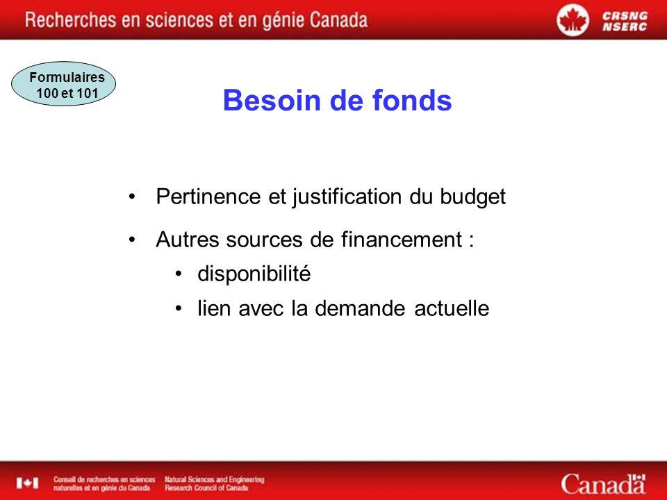 Besoin de fonds Pertinence et justification du budget Autres sources de financement : disponibilité lien avec la demande actuelle Formulaires 100 et 101