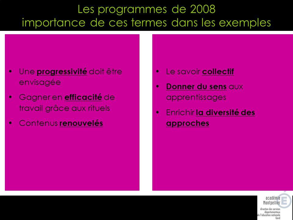 Les programmes de 2008 importance de ces termes dans les exemples Une progressivité doit être envisagée Gagner en efficacité de travail grâce aux rituels Contenus renouvelés Le savoir collectif Donner du sens aux apprentissages Enrichir la diversité des approches