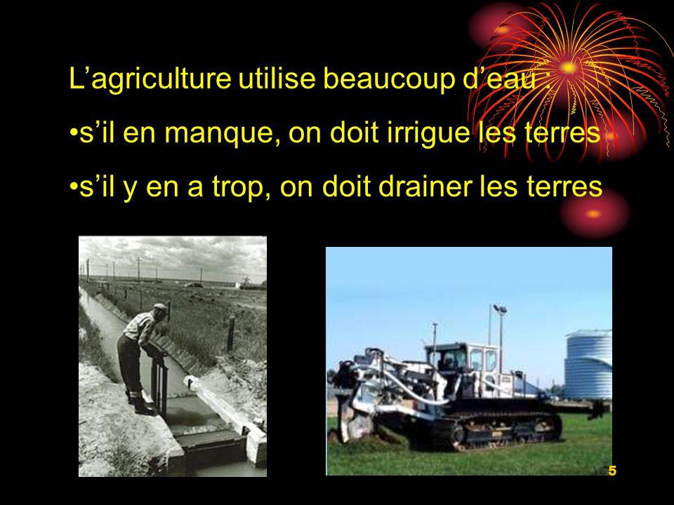 Lagriculture utilise beaucoup deau : sil en manque, on doit irrigue les terres sil y en a trop, on doit drainer les terres 5