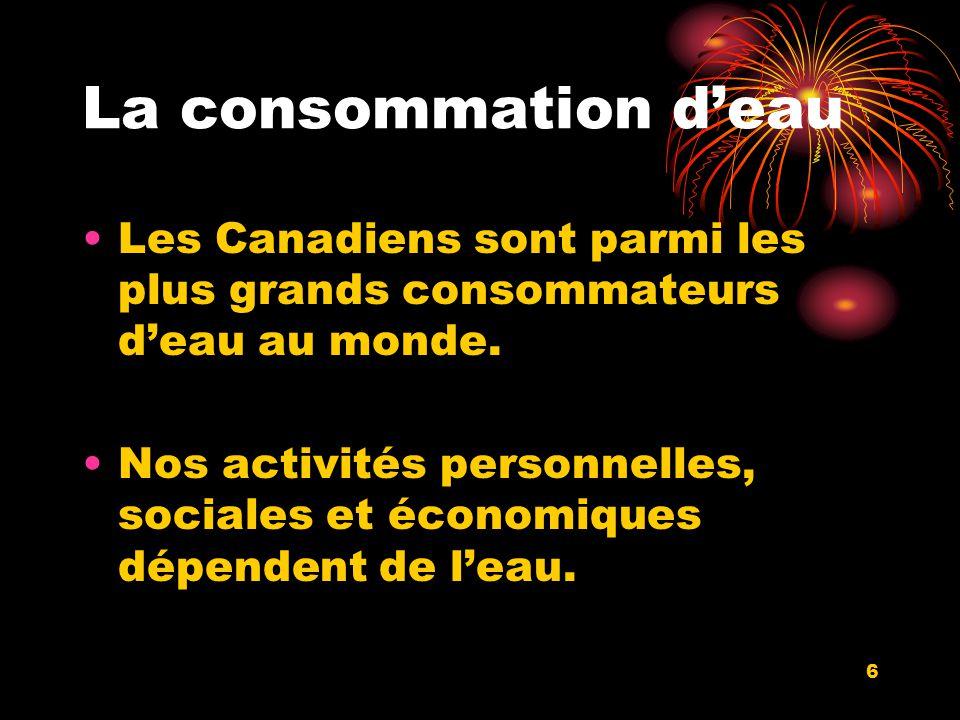 La consommation deau Les Canadiens sont parmi les plus grands consommateurs deau au monde.