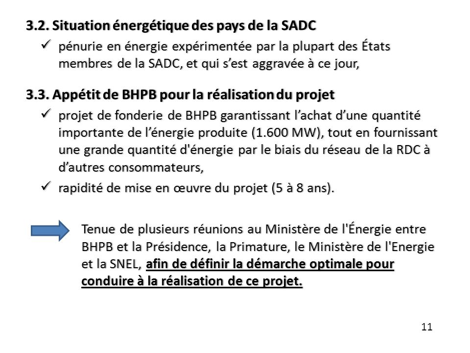 3.2. Situation énergétique des pays de la SADC3.2. Situation énergétique des pays de la SADC pénurie en énergie expérimentée par la plupart des États