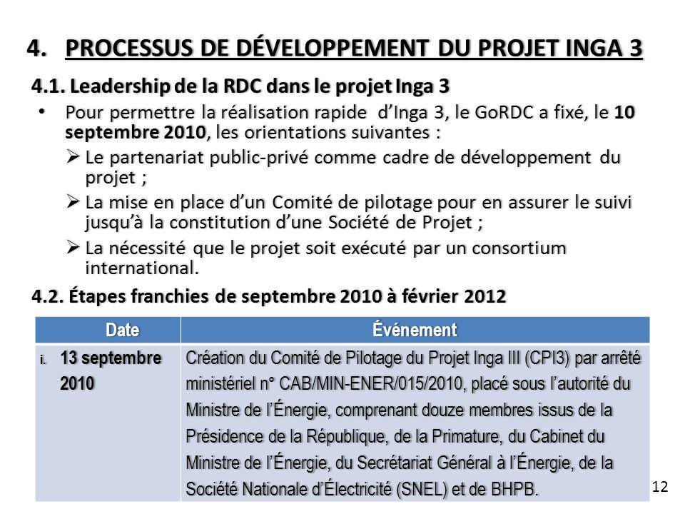 4.PROCESSUS DE DÉVELOPPEMENT DU PROJET INGA 34.PROCESSUS DE DÉVELOPPEMENT DU PROJET INGA 3 4.1. Leadership de la RDC dans le projet Inga 34.1. Leaders