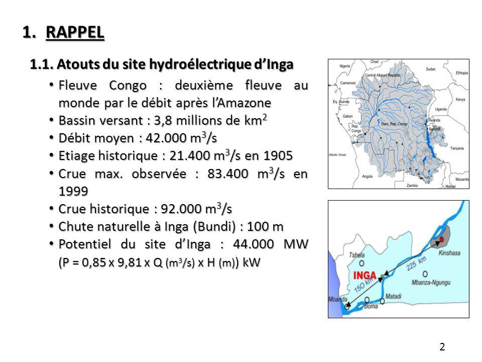 1.RAPPEL 1.1. Atouts du site hydroélectrique dInga Fleuve Congo : deuxième fleuve au monde par le débit après lAmazone Fleuve Congo : deuxième fleuve