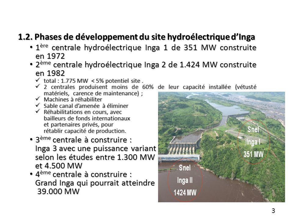 1.2. Phases de développement du site hydroélectrique dInga 1 ère centrale hydroélectrique Inga 1 de 351 MW construite en 1972 1 ère centrale hydroélec