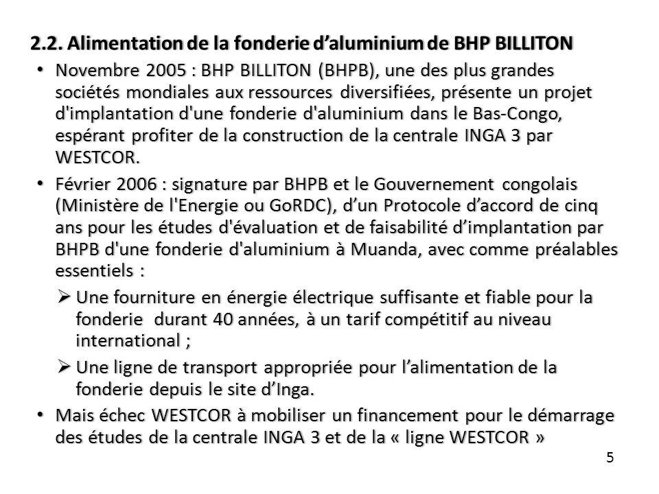 2.2. Alimentation de la fonderie daluminium de BHP BILLITON2.2. Alimentation de la fonderie daluminium de BHP BILLITON Novembre 2005 : BHP BILLITON (B